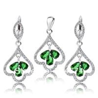TZ0095 Free shipping--High quality Cheap Jewelry 925 Sterling silver Jewelry Set For Women Fashion Zircon Earrings Pendant Set