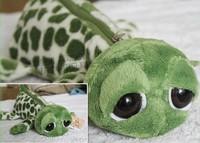 Super cute 1pc 25cm creative nici big eye green turtle tortoise plush pen bag pencil case stuffed toy children gift