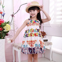 Hot Sale New 2015 Summer Female Child Chiffon Dress Spaghetti Strap One-piece Dress Baby Child Princess Dress Free Shipping A042