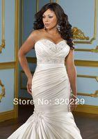 Free Shipping!! 2014 White/Ivory Mermaid Satin Bridal Gown Wedding Dress LJ-877