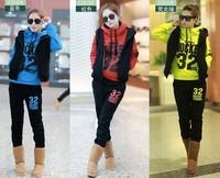 2014 new women sport suit  causl hoodie set  letter hoodie ,vest and pants  (3pcs/set) women's sweatshirt 3 colors full size
