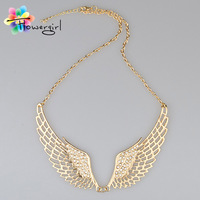 2014 Women Fashion Rhinestone Jewelry Angel Wings Gold Color Choker Necklace [ME-015]