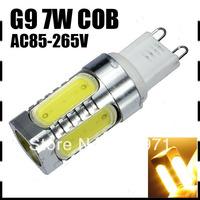 10PCS/LOT Mini G9 7W COB LED Lamp Ceramic Bulb Light Spotlights 550LM SMD 5 LEDS 85-265V Cold /warm white CE/RoHS Energy Saving