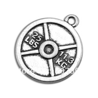 Hot Selling 50 Pcs 1 Lot Free Shipping Antique Silver Vintage 25LBS Circle Weight Plate Charms Letter Jewelry
