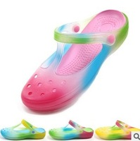 2014 summer new rainbow colored jelly shoes, sandals and slippers ladies spray color hole sandals three color