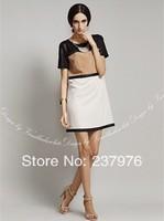 New 2014 European and American women's spring dress summer skirt dresses large size high waist skirt step short sleeve dresses