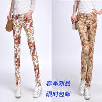 2014 spring new Korean Women large size feet floral pants casual pants pants were thin women