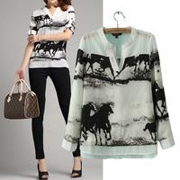 2014 Fashion Ink Print Horse Gallops V-neck Faux Silk Ladies Long Sleeve Shirt, Elegant Chiffon Blouse