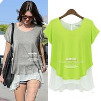 2014 spring and summer fashion medium-long o-neck patchwork faux two piece chiffon shirt short-sleeve placketing T-shirt basic