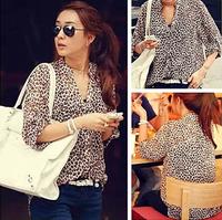 Free  Shipping Stand collar loose roll sleeve medium-long sunscreen long-sleeve chiffon shirt leopard print