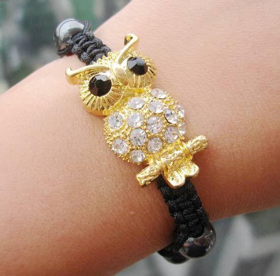 2014 NEW Style Owl Shamballa Bracelets Fashional hand Shambala Charm BANGLE for women(China (Mainland))
