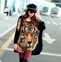 Free Shipping Mm plus size clothing t-shirt tiger pattern loose t-shirt batwing long-sleeve shirt