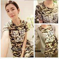 Princess Camouflage medium-long letter o-neck short-sleeve T-shirt