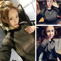 Free  Shipping Princess raglan sleeve rivet long-sleeve T-shirt fashionable casual sweatshirt basic shirt