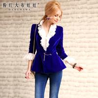 Lovable Secret - Short jacket 2014 spring navy blue metal decoration buckle slim velvet suit short jacket  free shipping