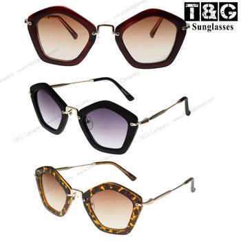 Pentagonal Geometric Vintage Retro Sunglasses Women Brand Designer Fashion Glasses ...