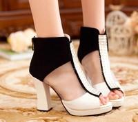 Free shipping ! Wholesale! The new 2014 sheepskin women fashion diamond fish mouth high-heeled shoes, sandals, pumps-wj