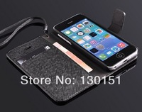 Luxury Genuine Wallet Leather Case For iphone 5C stand cover, with hang string, 50pcs/lot wholesale