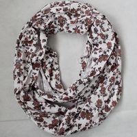 Free shipping new Europe fashion style spring autumn neckerchief scarf Ring white brown flower scarves Undershirt cloth women