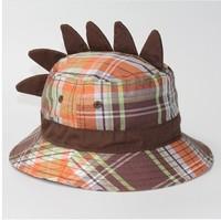 2014 New Children Caps Plaid Dinosaur Spring Summer Boy Cap Sunbonnet  Bucket Hats Baby Hat Girls Beach Cap 48cm,52cm,50cm