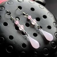 925 pure silver ear hook handmade earrings earring powder colored glaze
