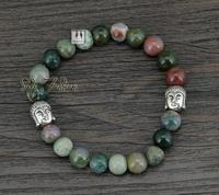 Quality 8MM Natural India Agate With Antique Budda Beads Bracelet Natural Stone Tibetan Bracelet Bohemia Jewelry