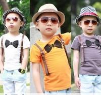 (5 pieces/lot)wholesale boy's 2014 summer new fashion modal 3 color braces bow tie t shirts boy tee kids short children T shirts