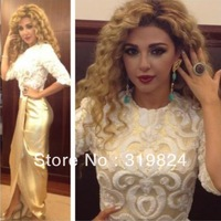 Myriam Fares Celebrity Dresses Sheath High Collar Half Sleeves Floor Length Champagne Satin Appliques Red Red Carpet Dresses