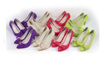 2014 Spring New Arrived European beautiful colors Block Pointed Rivets OL stiletto high heels women pumps summer shoes