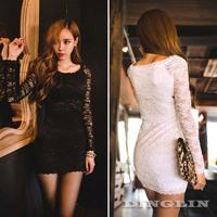 Sexy Women Vestidos Long Sleeve O-Neck Sheer Mesh Folral Club Party Bodycon Solid Black White Lace Mini Dress Free Shipping 1369