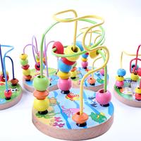 Child puzzle wooden toy mini cartoon small around the bead leuconostoc 1 - 2 - 3 baby