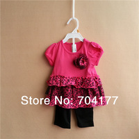 Retail  12M-3T 100% cotton baby girl's fashion suit 2014 summer Carters  girls 2-piece set baby clothes kids wear Tshirt+pants