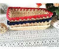 Corn Husk Straw Storage Basket  Desktop Storage Box Sundries Braid New Woven Pastorable  Storage Blue/Red Key Box Knitted Ratten