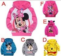 Retail 1pcs baby girls boys Minnie Mickey long sleeve hooded jacket coat cartoon design Hoodies & Sweatshirts kids children Top