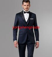 2014 New Arrival Custom Made Wedding Suit Midnight Blue Wool Wedding Suits Best Groomsmen Tuxedo (Jacket+Pants+Vest+Tie) MS0356