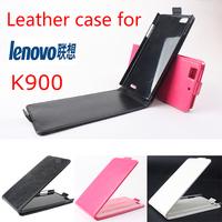 Free Shipping Original Lenovo K900 Leather smart flip Case Lenovo K900 Case+Free Screen Protector+Retail Package