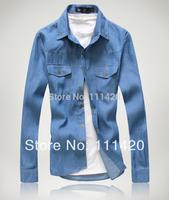 2014 New Denim Men 's Shirts Korean Long Sleeve Fashion Man Shirt With Pockets Durable Men Clothing XXL