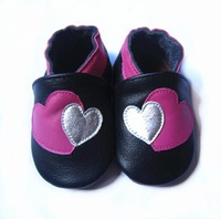double heart  girl design genuine leather baby  shoes