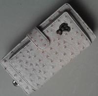 New Arrival Ostrich Grain PU Leather Long Handy Cute Bear Fold Women Wallet Coin Purse Hot Sale SMBB-02
