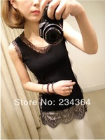 The new dress lace stitching h vest women render small condole belt unlined upper garment