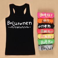 Wholesale 5pcs/lot Spaghetti Strap Letter Cotton Vest For Women Summer Casual Tank Tops Ladies 9 Colors VT-072