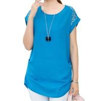 Women Summer Short Sleeve Lace Chiffon Beading Blouse Shirt S - XXXL 0006