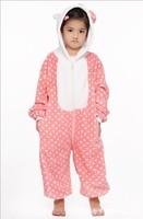 2014 Children Unisex Cosplay Anime Animal Cartoon Costumes Onesies for Kids Pajamas Pyjama Fashion Sleepwear KT Cat