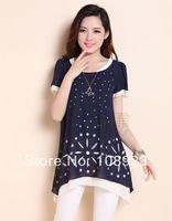 2014 new arrival summer fashion short sleeve chiffon maternity blouse free shipping a9088