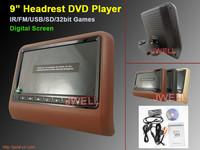 9 inch HD screen 800X480 Car Headrest Monitor with slot in DVD, IR,FM,USB,SD, Wireless game
