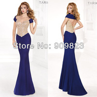 2014 Sweetheart Short Sleeves Nude Embroidery Beaded Mermaid Elegant Evening Gowns Dresses New 1395