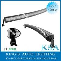 50 inch 288w curved led light bar combo beam for off road 4x4 , bending light bar