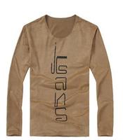 2014 Round Neck Letter Printed Men's t Shirt  Long Sleeve Millitary Cotton Soft Men's Basic Tee Tops