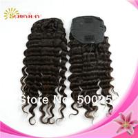 Sunnymay human hair grade 6a Chinese virgin human hair 100g deep wave human hair Human hair drawstring ponytail ponytail