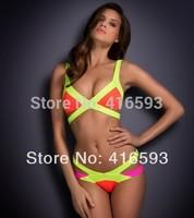 2014 Sexy Hot Sale Bandage Swimsuit  Patchwork Brand Swimwear, HL Strappy Padded Bikini Set For Women Drop shipping